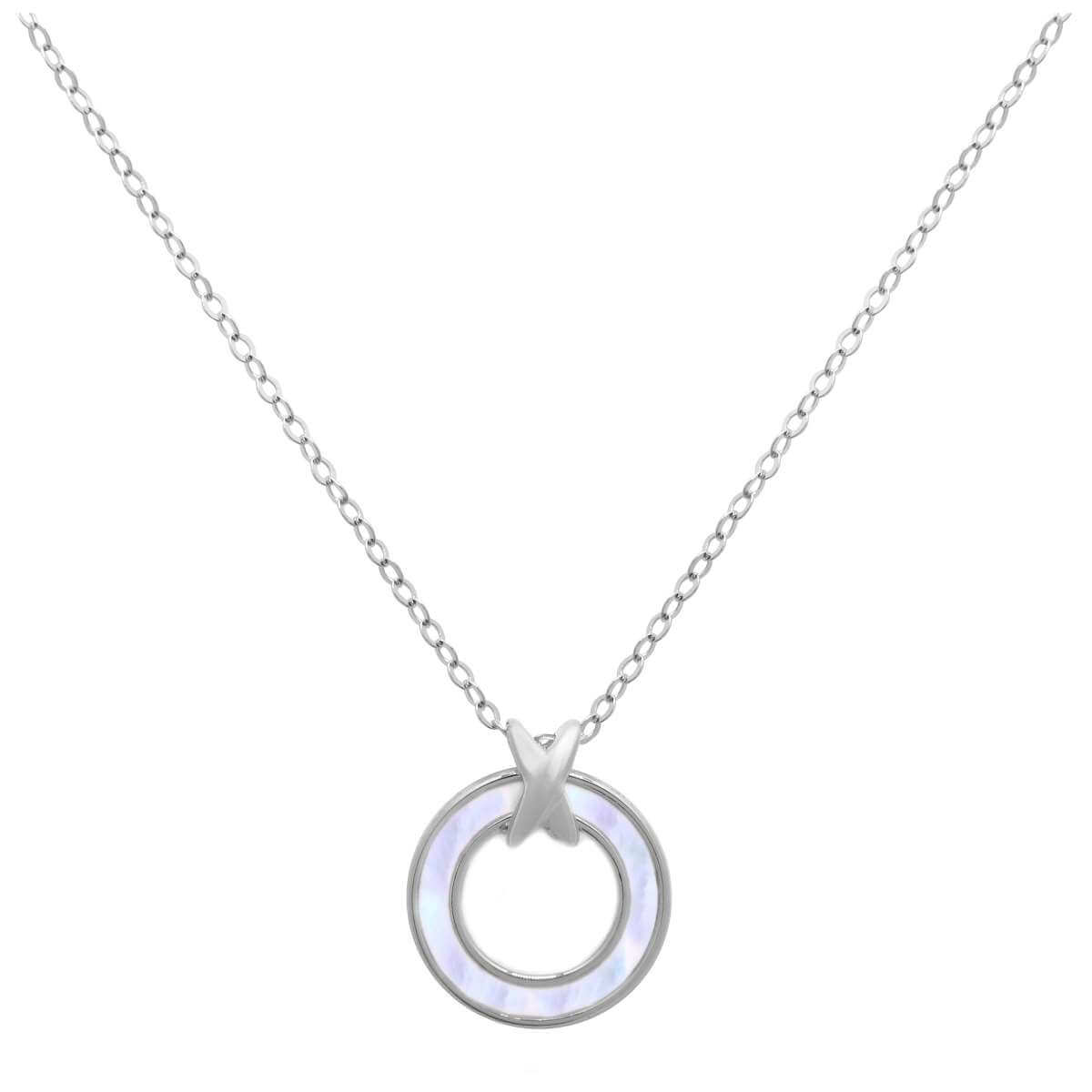 Sterling Silver Mother of Pearl Karma Circle Necklace 18 Inch
