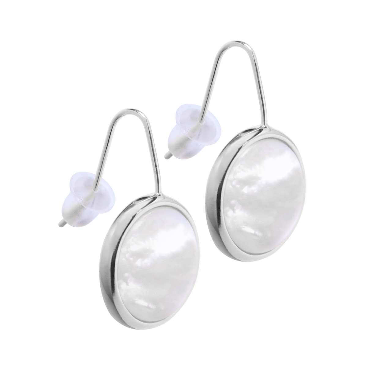 Sterling Silver Mother of Pearl Round Dangle Drop Earrings