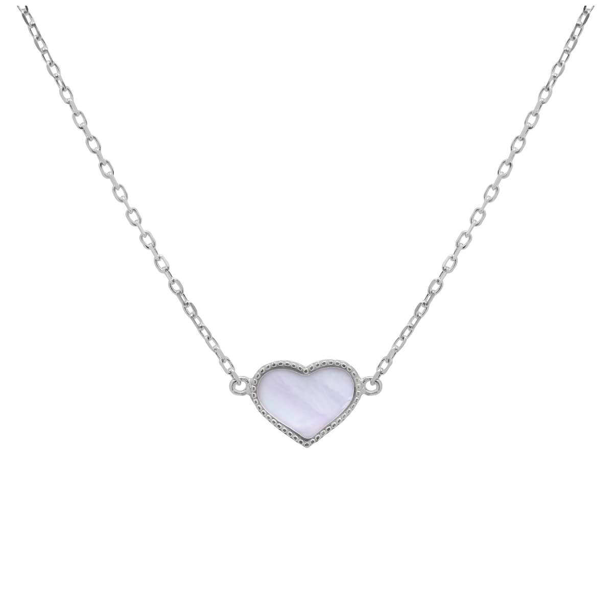 Sterling Silver Mother of Pearl Heart Necklace - 18 Inches