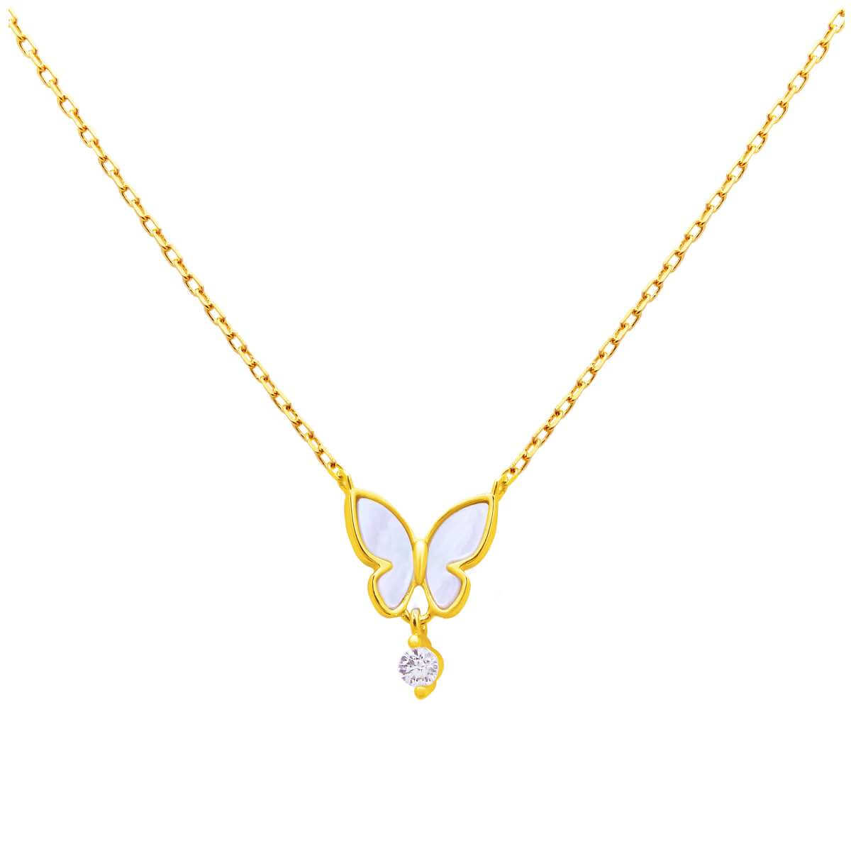 Gold Plated Sterling Silver Butterfly CZ Necklace 18 Inch