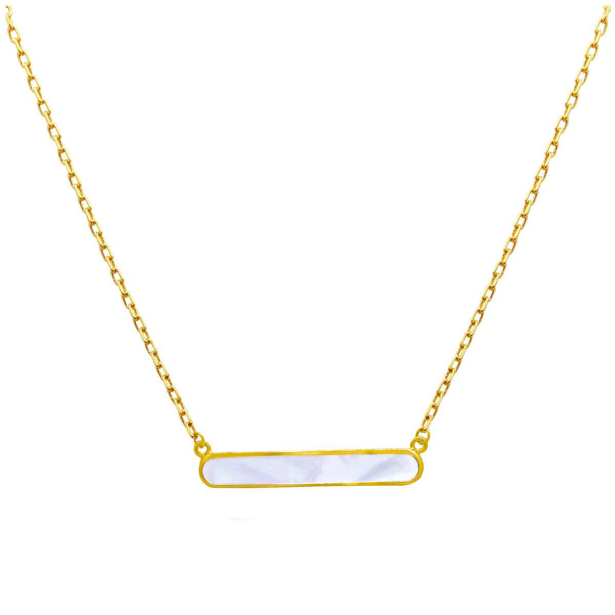Gold Plated Sterling Silver Mother of Pearl Bar Necklace 18