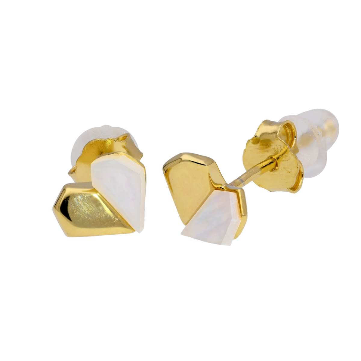 Gold Plated Sterling Silver Split Mother of Pearl Heart Stud Earrings
