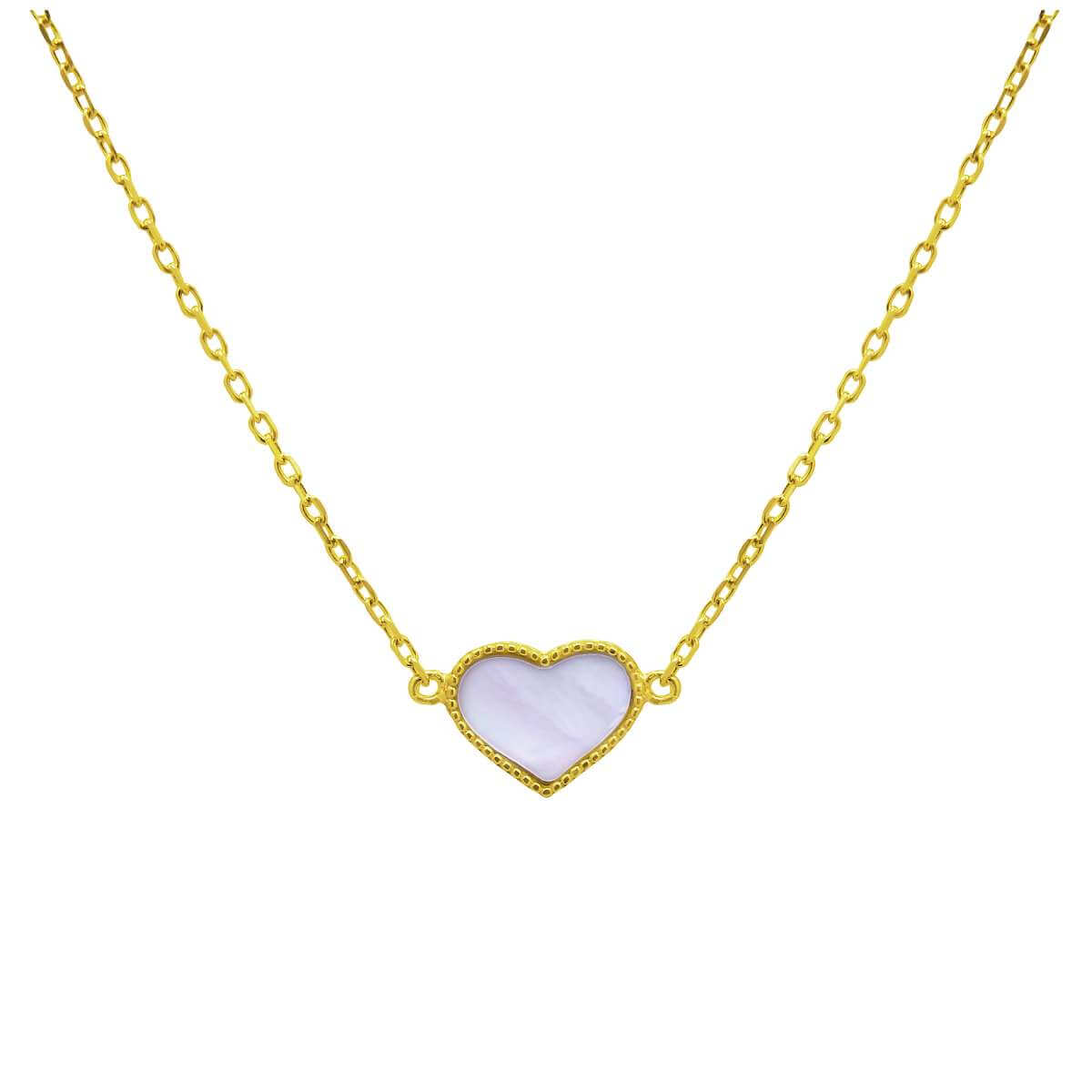 Gold Plated Sterling Silver Mother of Pearl Heart Necklace