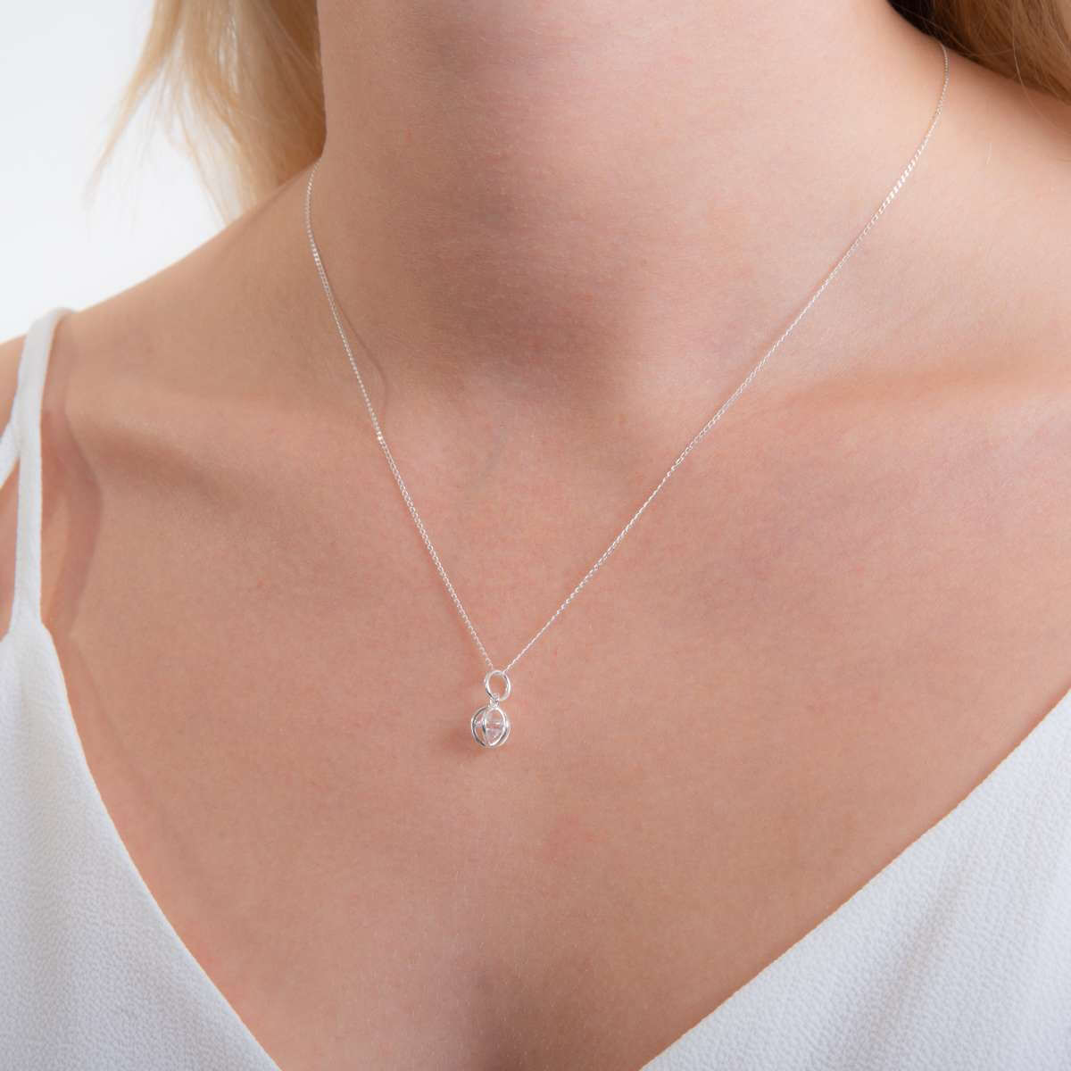Sterling Silver & CZ Crystal Open Ball Necklace 14 - 22