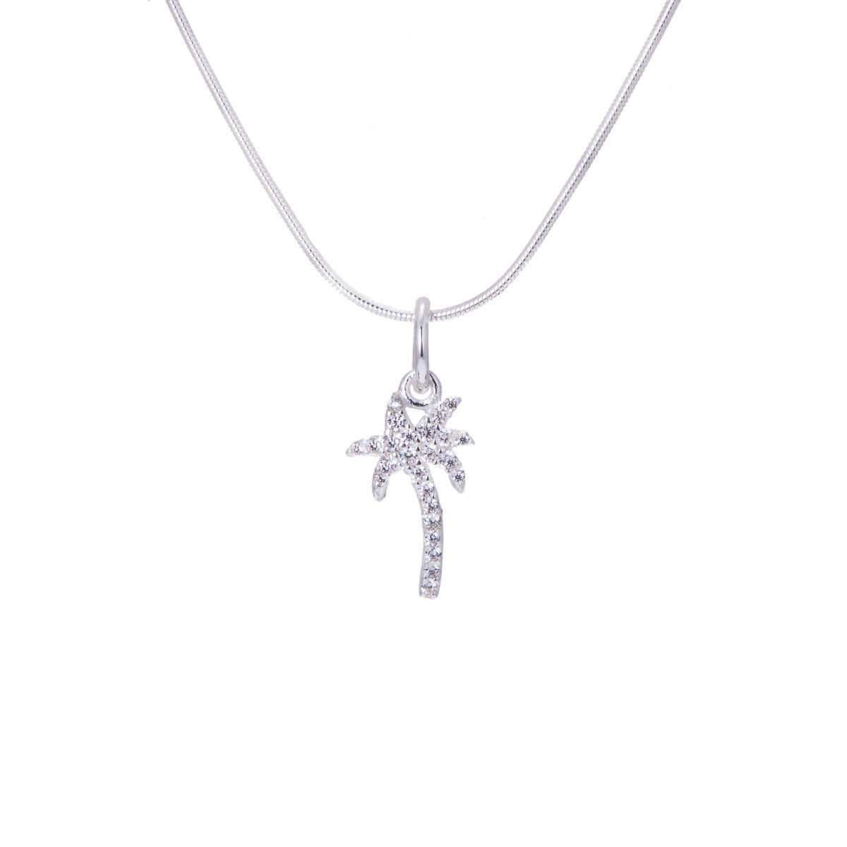 Sterling Silver CZ Encrusted Palm Tree Necklace - 14 - 22 Inches