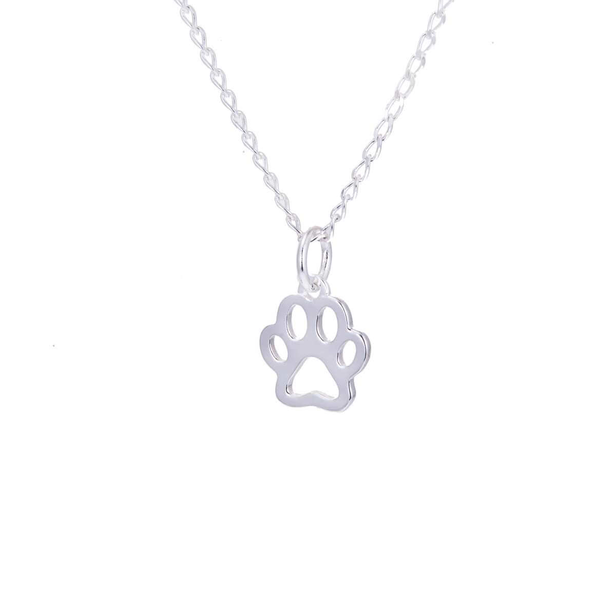 Sterling Silver Pawprint Outline Necklace 14 - 22 Inches