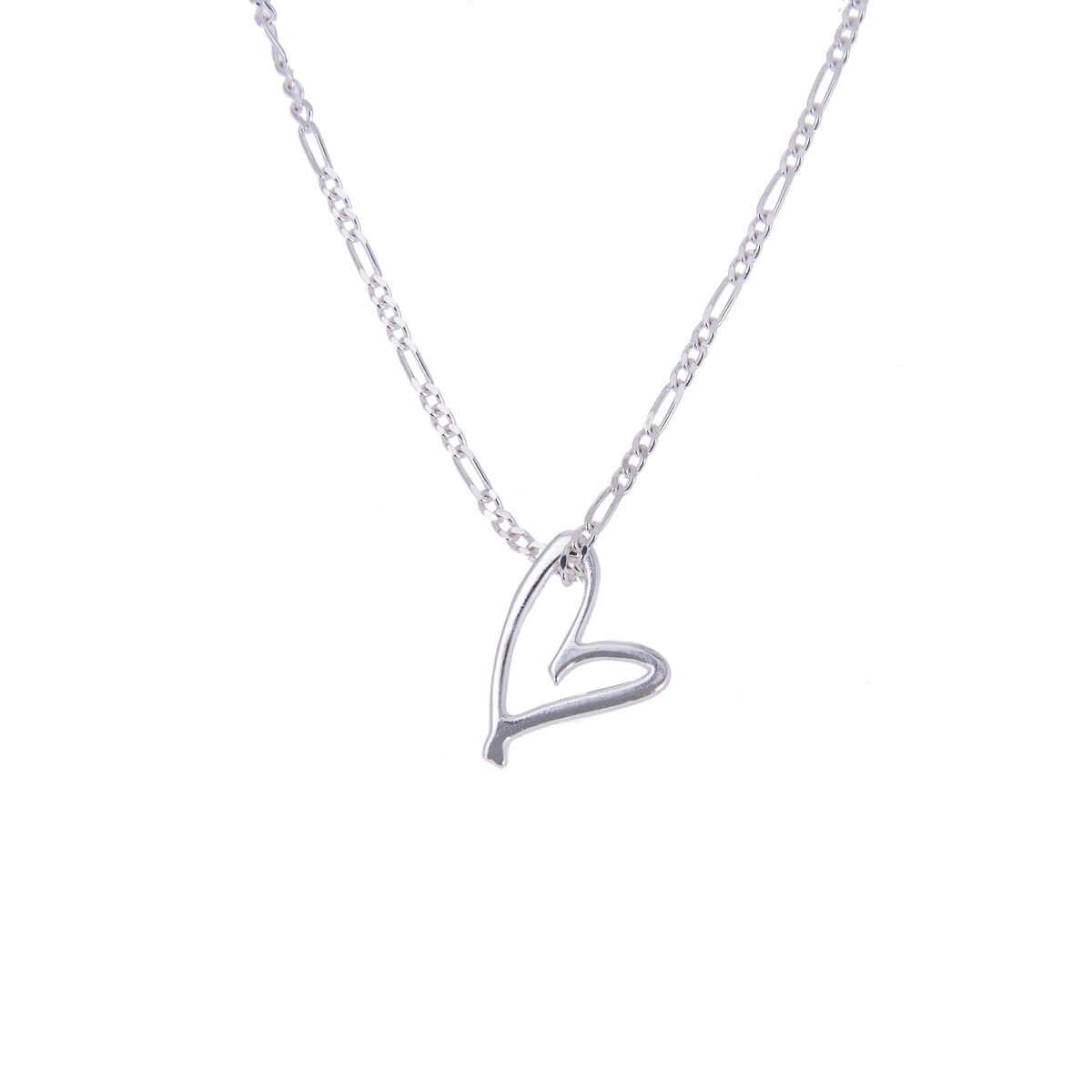 Sterling Silver Stylised Open Heart Necklace 14 - 32 Inches