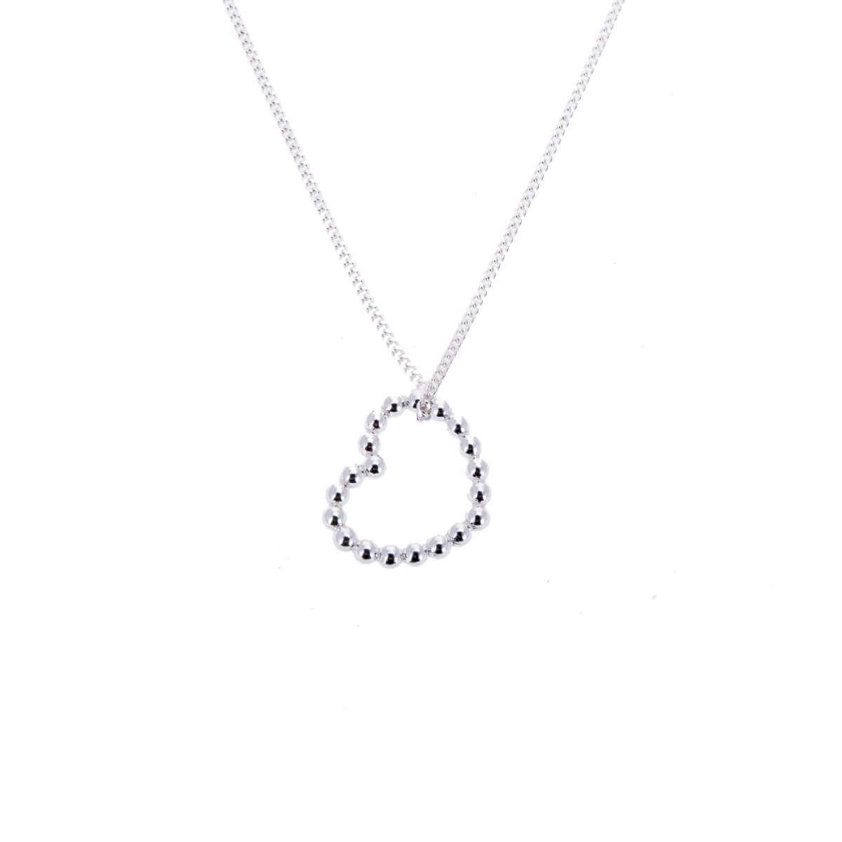 Sterling Silver Beaded Open Heart Necklace 14 - 32 Inches