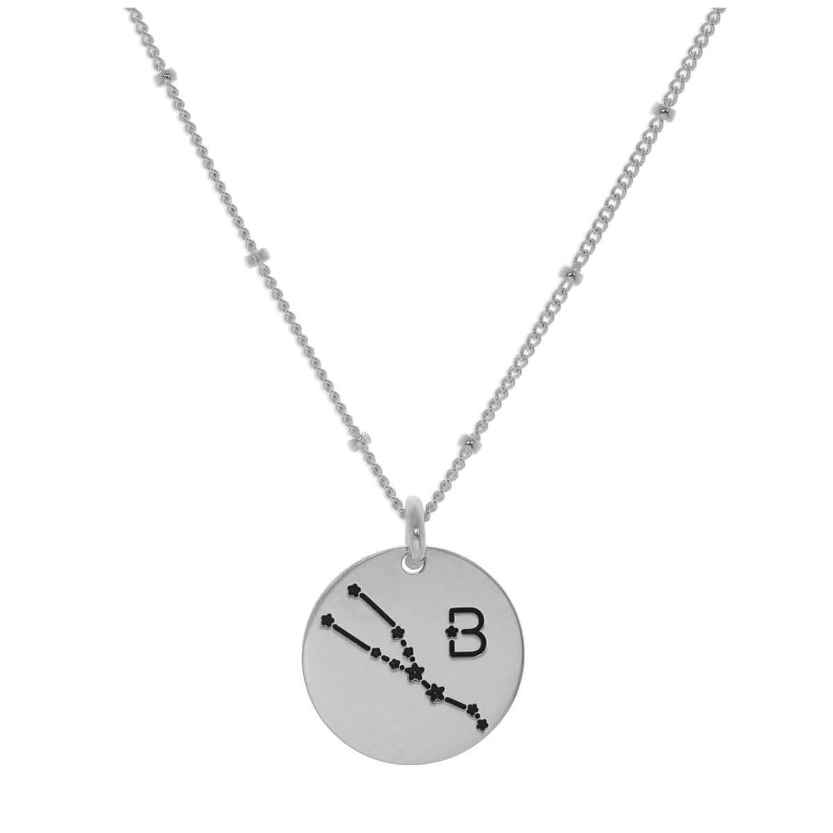 Bespoke Sterling Silver Taurus Constellation & Initial Necklace 12-24 Inch