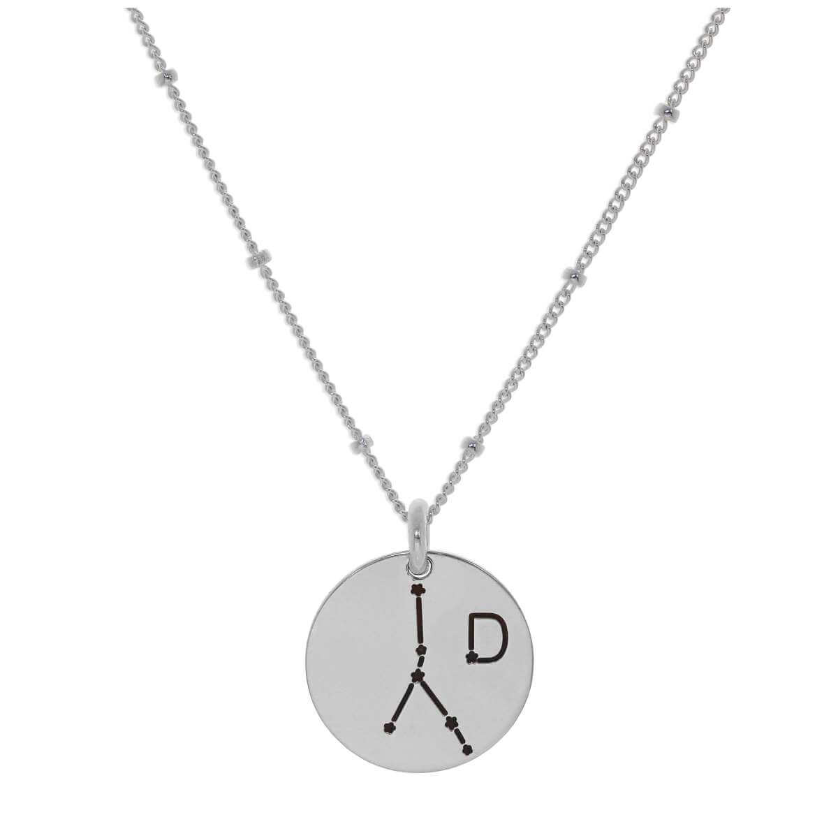 Bespoke Sterling Silver Cancer Constellation & Initial Necklace 12-24 Inch