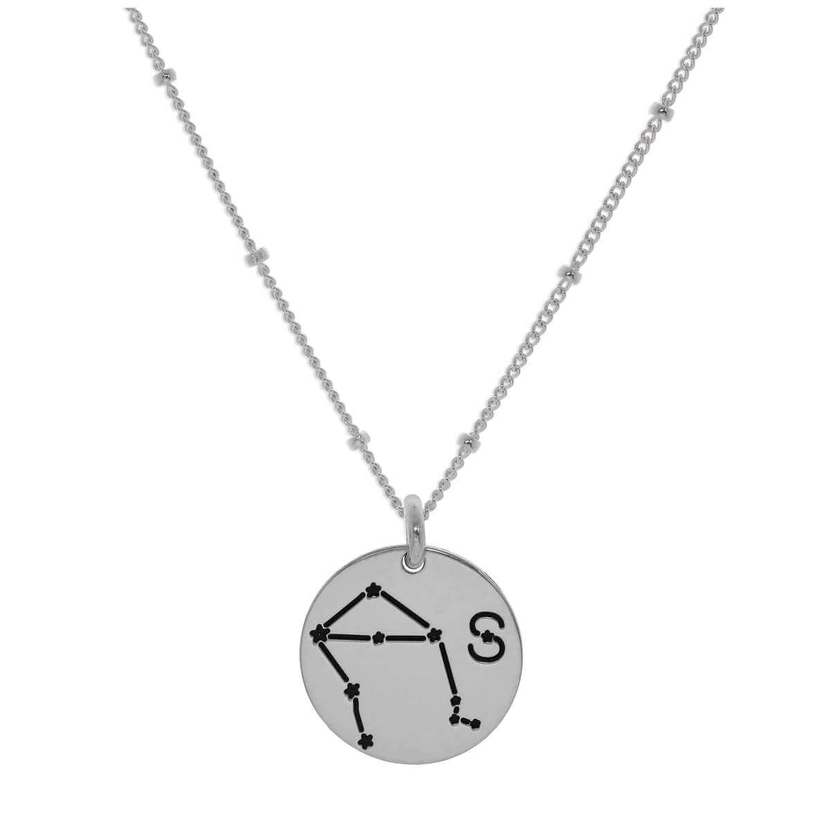 Bespoke Sterling Silver Libra Constellation & Initial Necklace 12-24 Inch