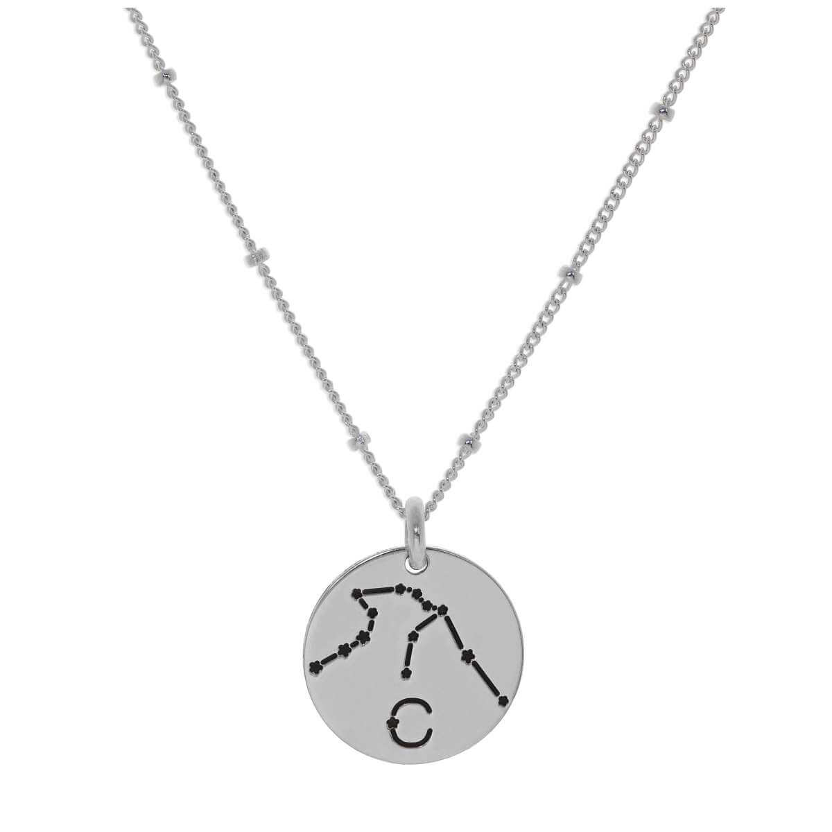 Bespoke Sterling Silver Aquarius Constellation & Initial Necklace 12-24 Inch