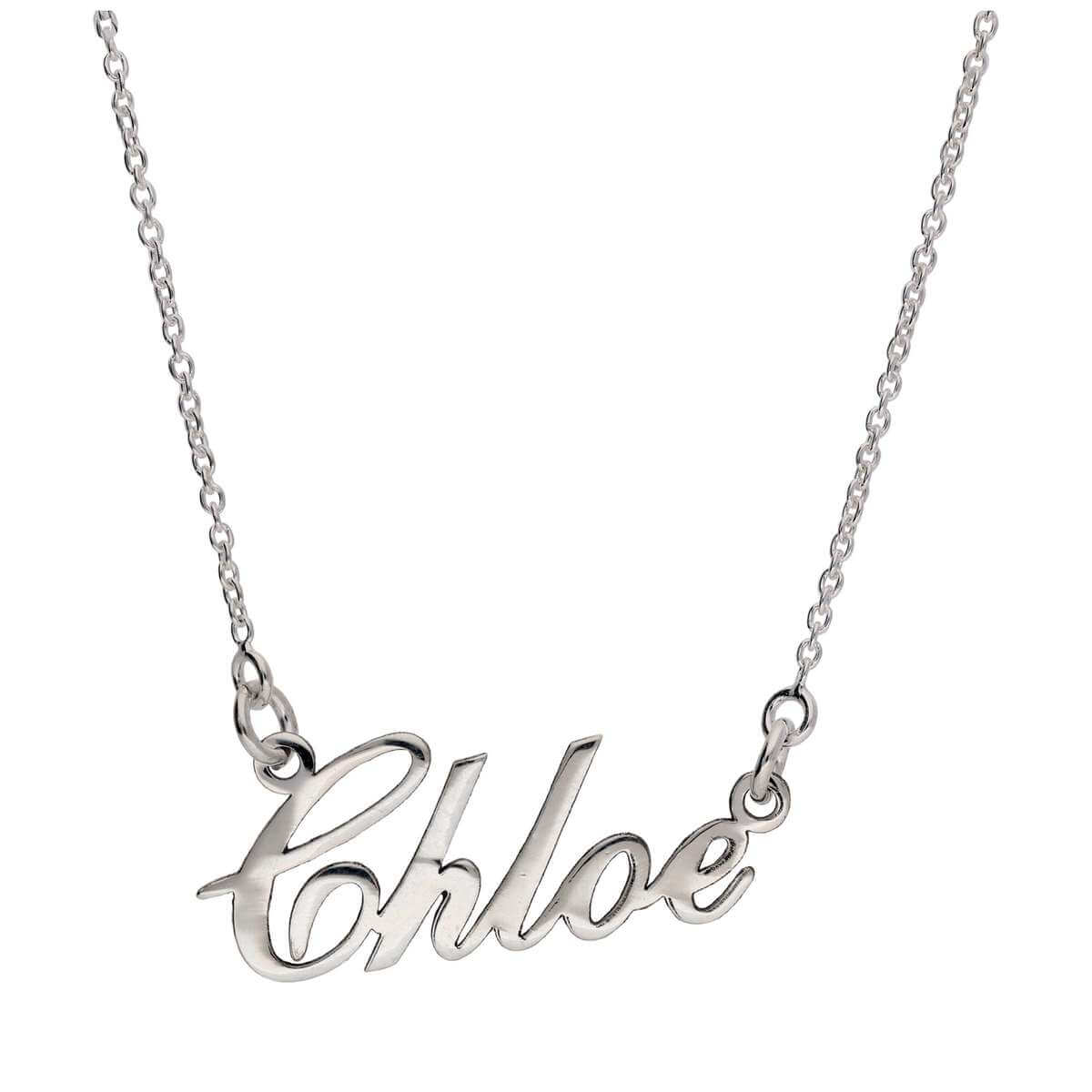 Bespoke Sterling Silver Personalised Name Script Necklace 17+1 Inch