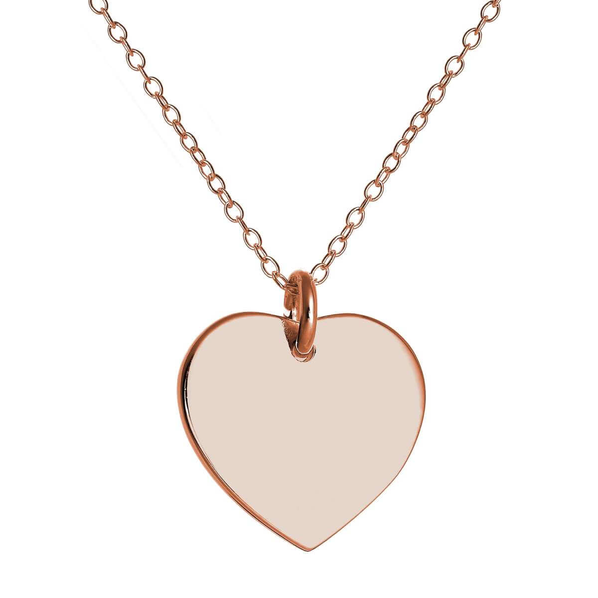 Rose Gold Plated Sterling Silver Engravable Heart Necklace