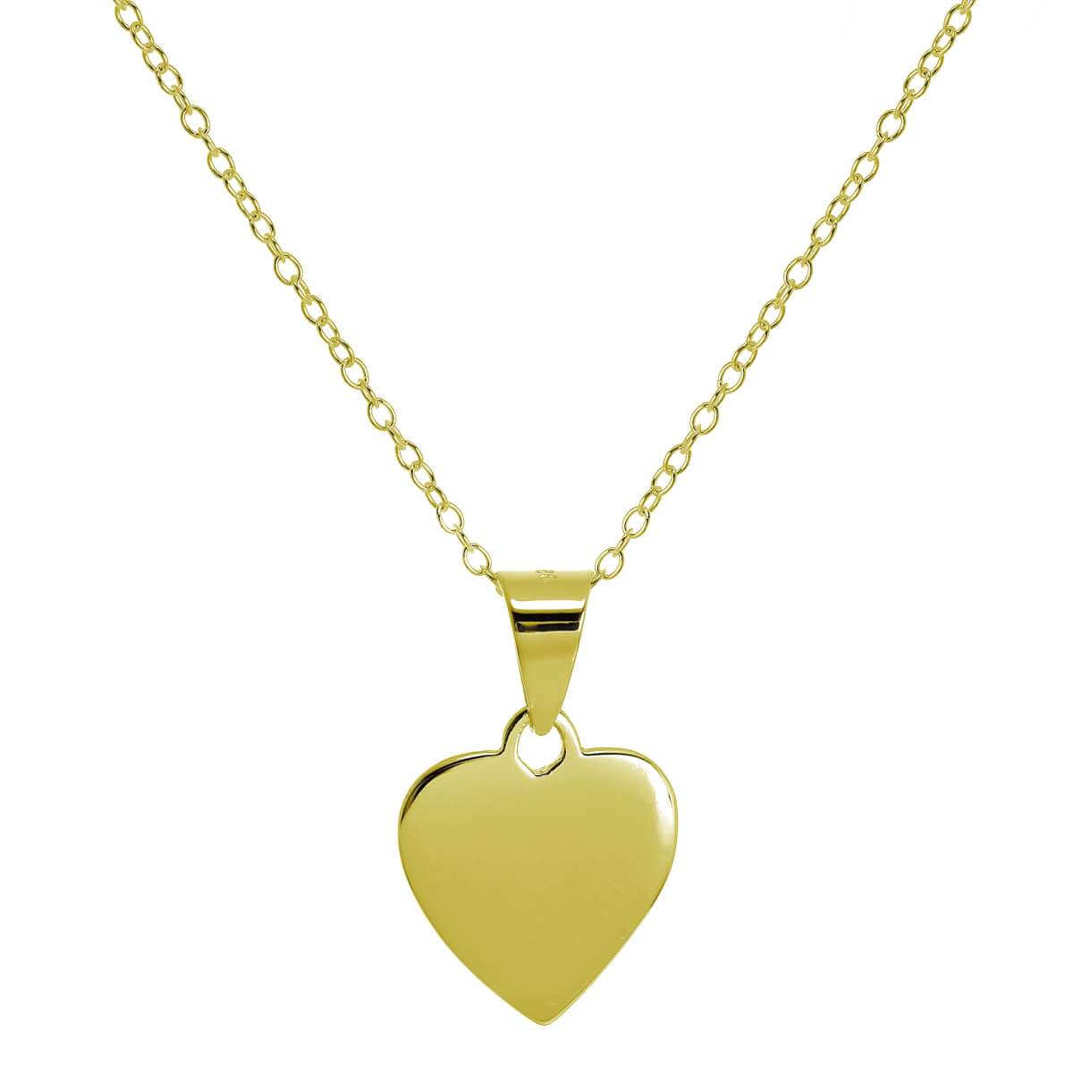 Gold Plated Small Sterling Silver Engravable Heart Necklace