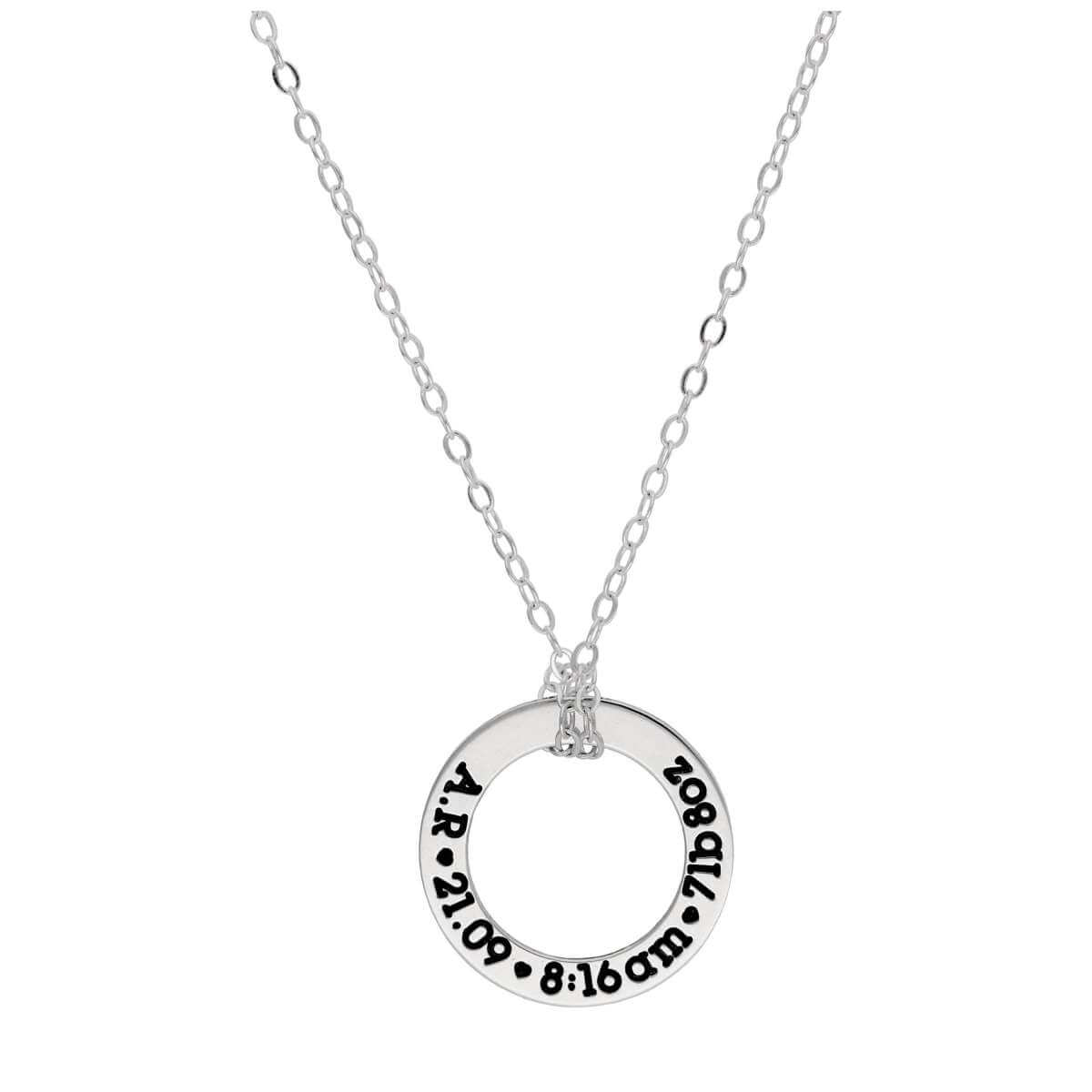 Bespoke Sterling Silver New Baby Circle Necklace 16-28 Inches