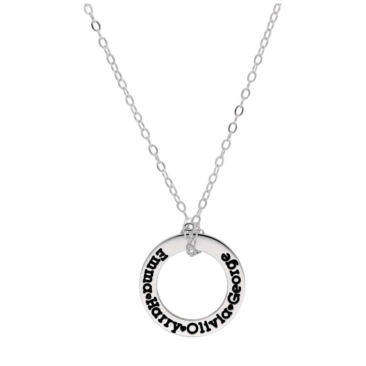 Bespoke Sterling Silver Name Circle Necklace 16-28 Inches