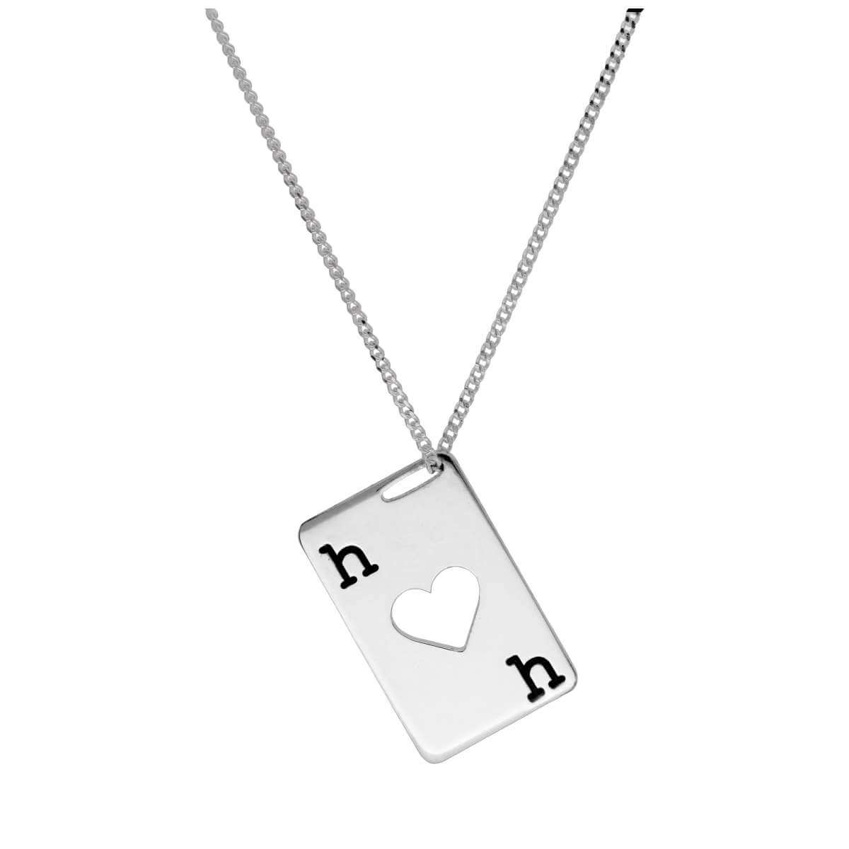 Bespoke Sterling Silver Hearts Playing Card Necklace 14-32 Inches