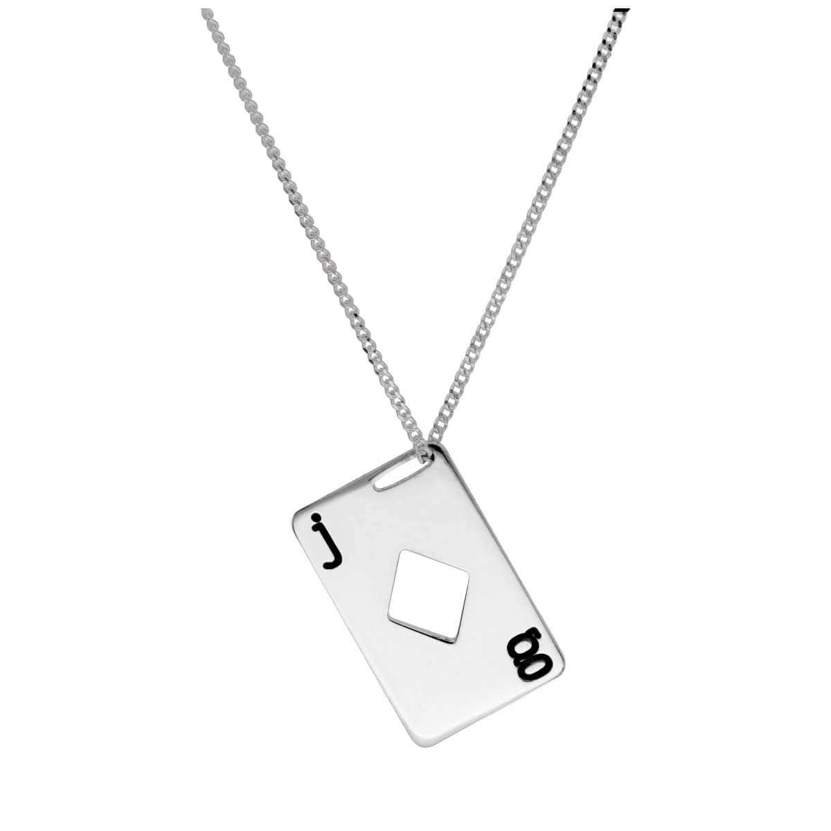 Bespoke Sterling Silver Diamonds Playing Card Necklace 14-32 Inches