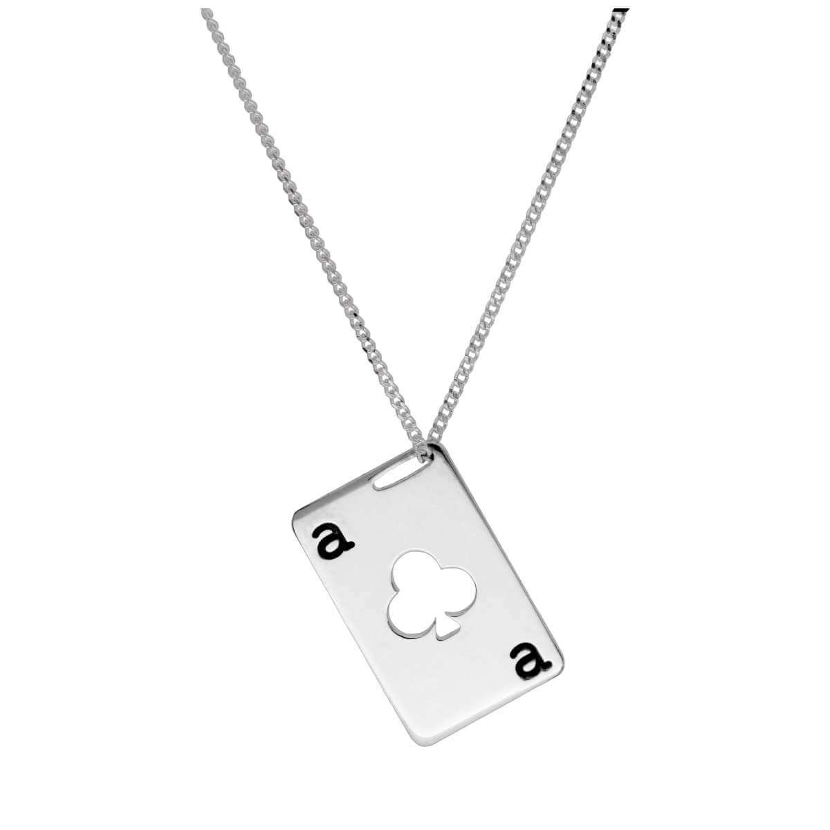Bespoke Sterling Silver Clubs Playing Card Necklace 14-32 Inches
