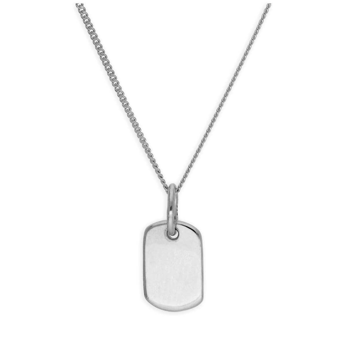 Sterling Silver Mini Engravable Tag Necklace 14-32 Inches