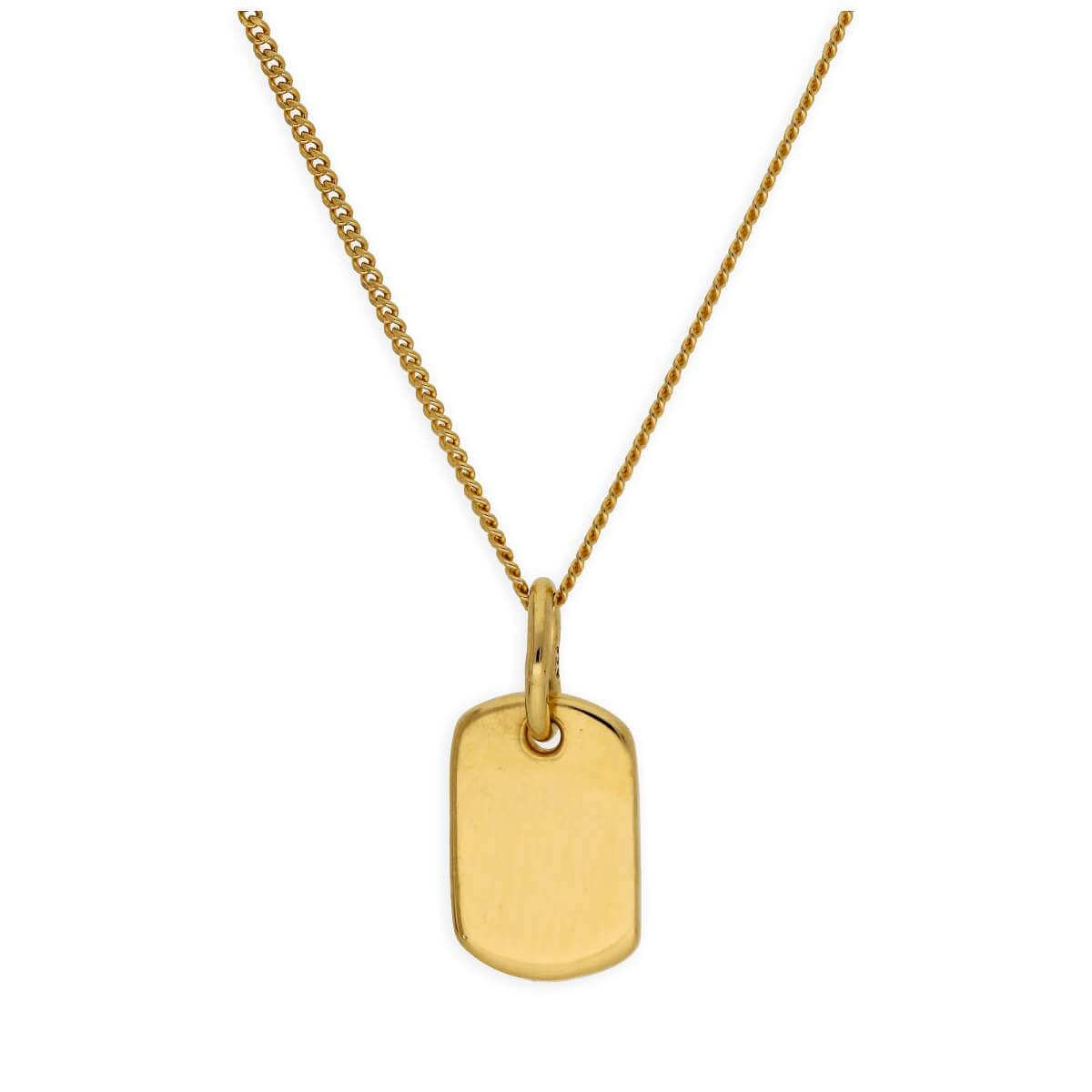 Gold Plated Sterling Silver Mini Engravable Tag Necklace