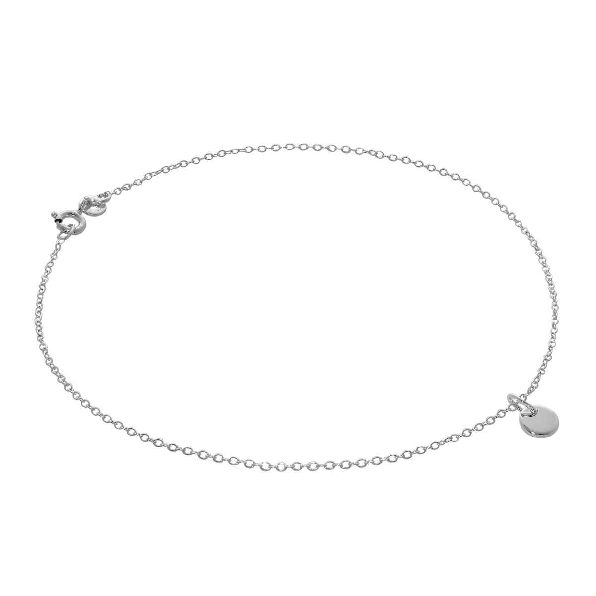 Sterling Silver Mini Round Tag Belcher Anklet - 10 Inches