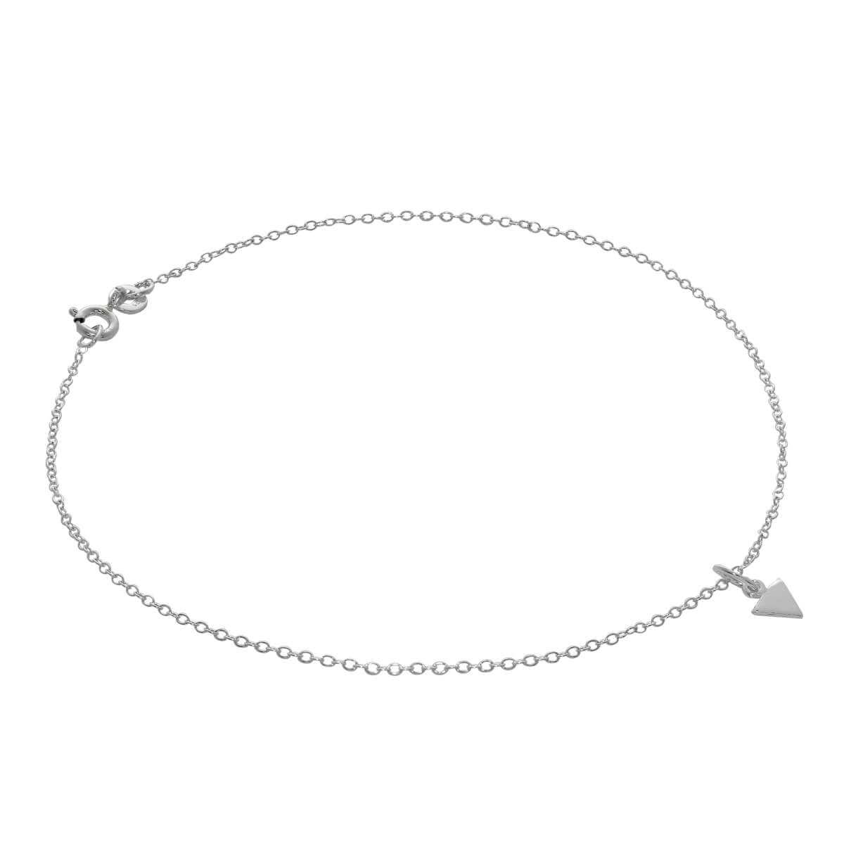 Sterling Silver Flat Triangle Spike Belcher Anklet - 10 Inches