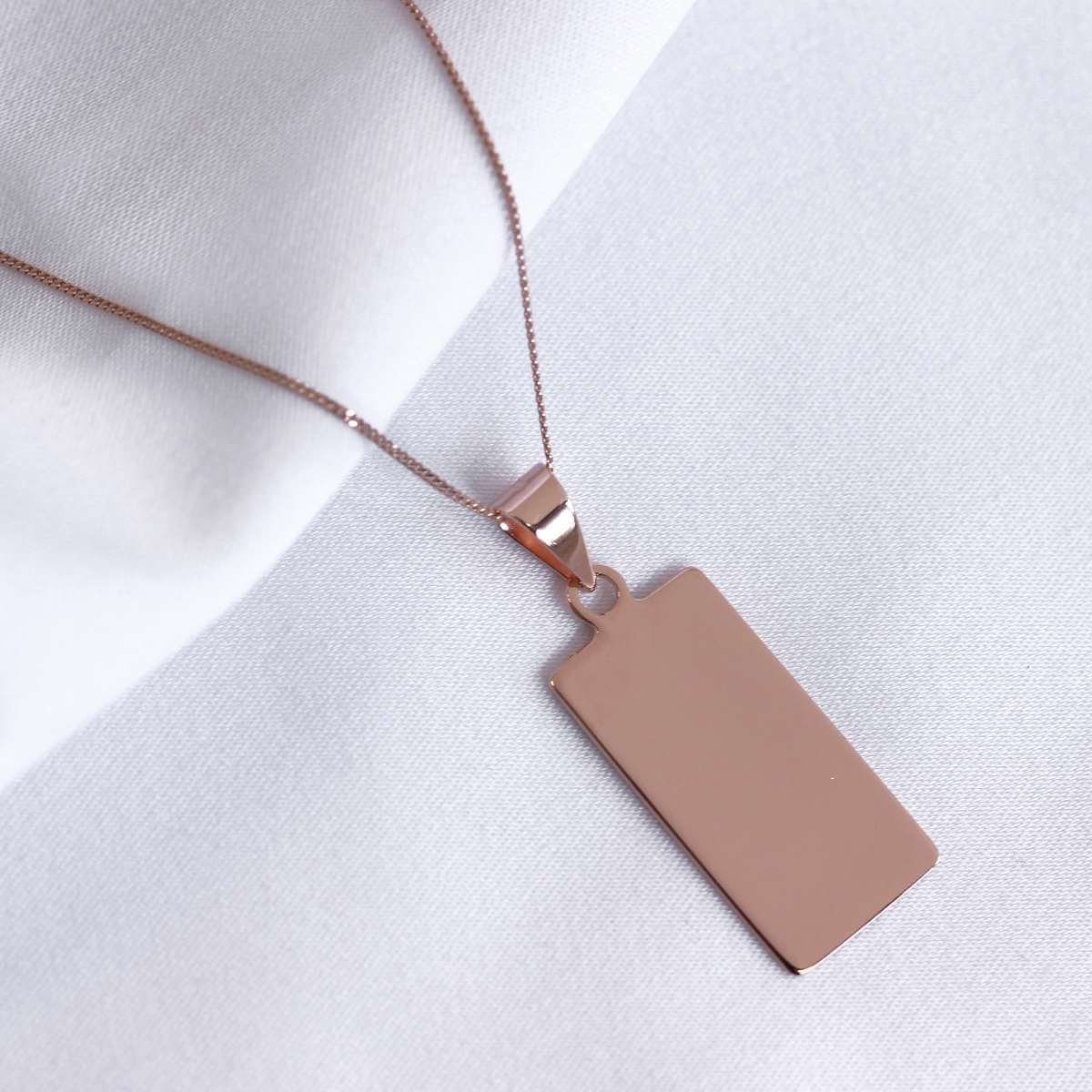 Rose Gold Plated Sterling Silver Rectangular Engravable Necklace 14-32 Inches