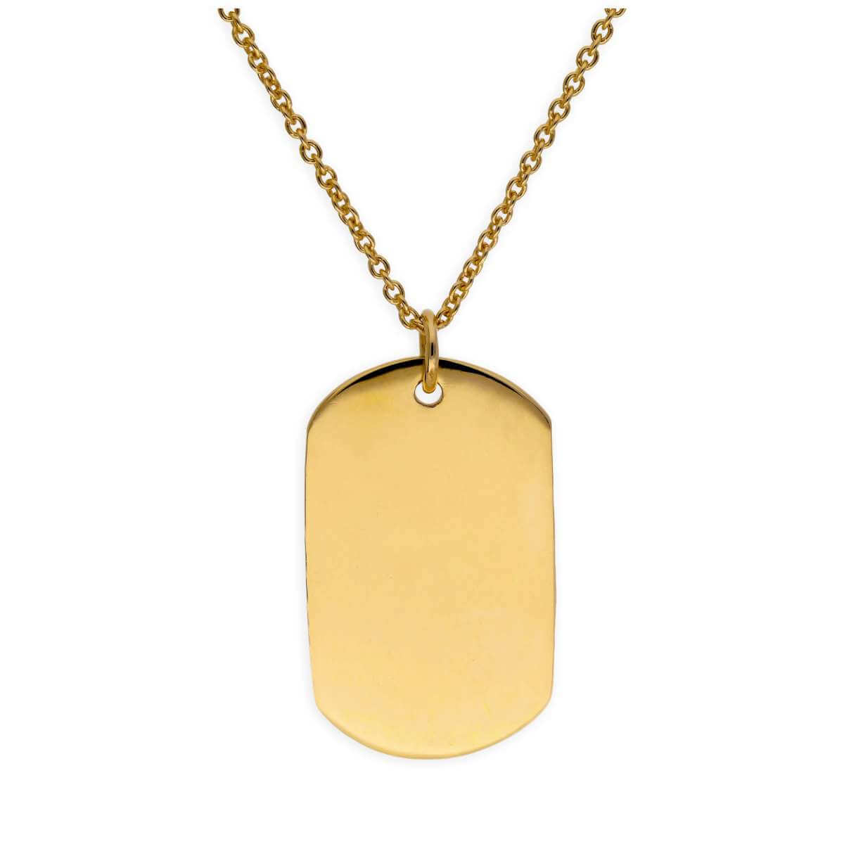 Large Gold Plated Sterling Silver Dog Tag Necklace 16 - 24 Inches
