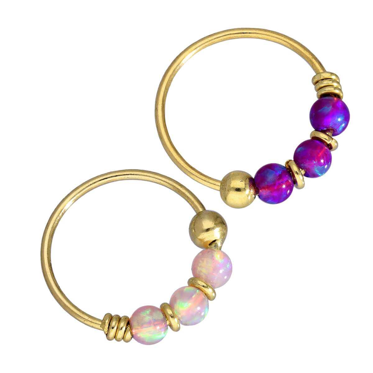 9ct Gold Pink & Purple Opal Gemstone 22Ga Nose Ring Set