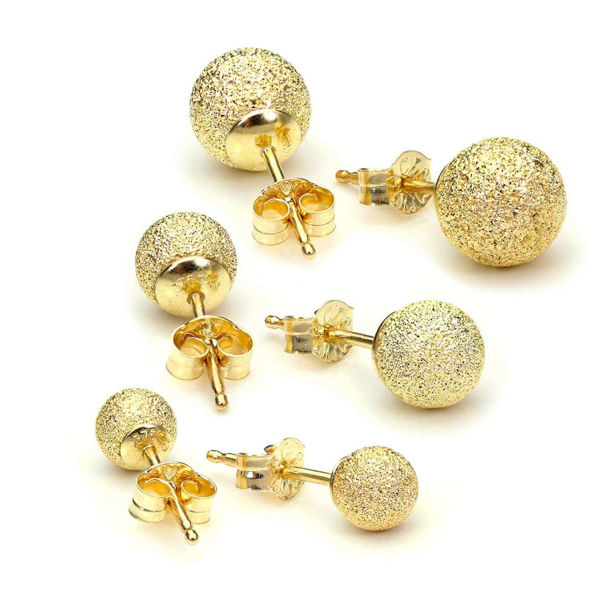 Triple 9ct Gold Frosted 4 5 & 6mm Ball Stud Earrings Set