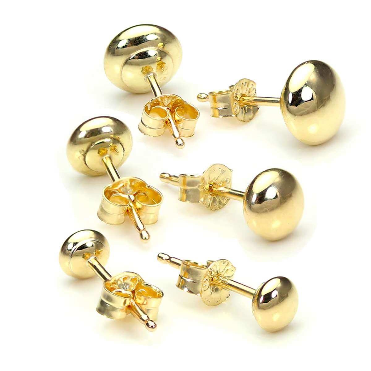 Triple 9ct Gold Bouton 3 4 & 5mm Ball Stud Earrings Set