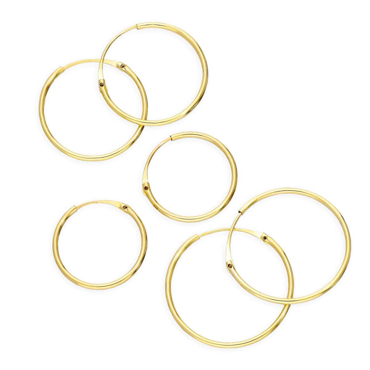 Triple 9ct Gold 0.8mm 12 14 & 16mm Tube Hoop Earrings Set