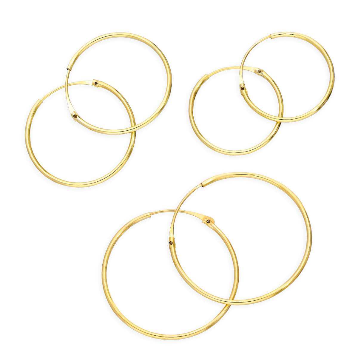 Triple 9ct Gold 0.8mm 14 16 & 20mm Tube Hoop Earrings Set