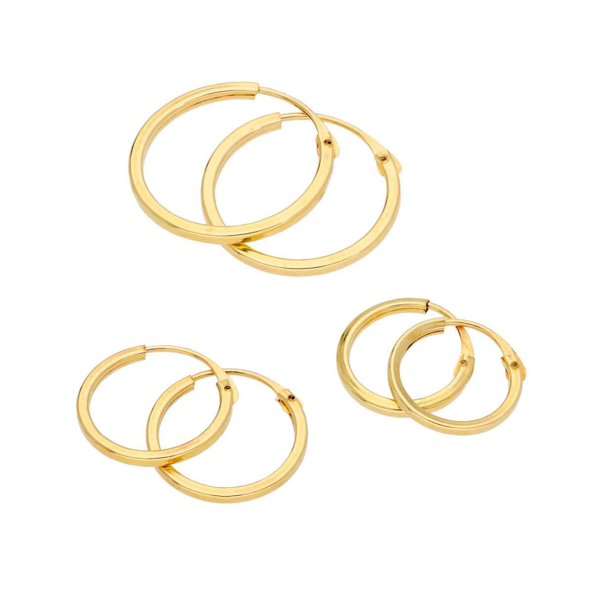 Triple 9ct Gold 1mm Square 10 12 14mm Hoop Earrings Set