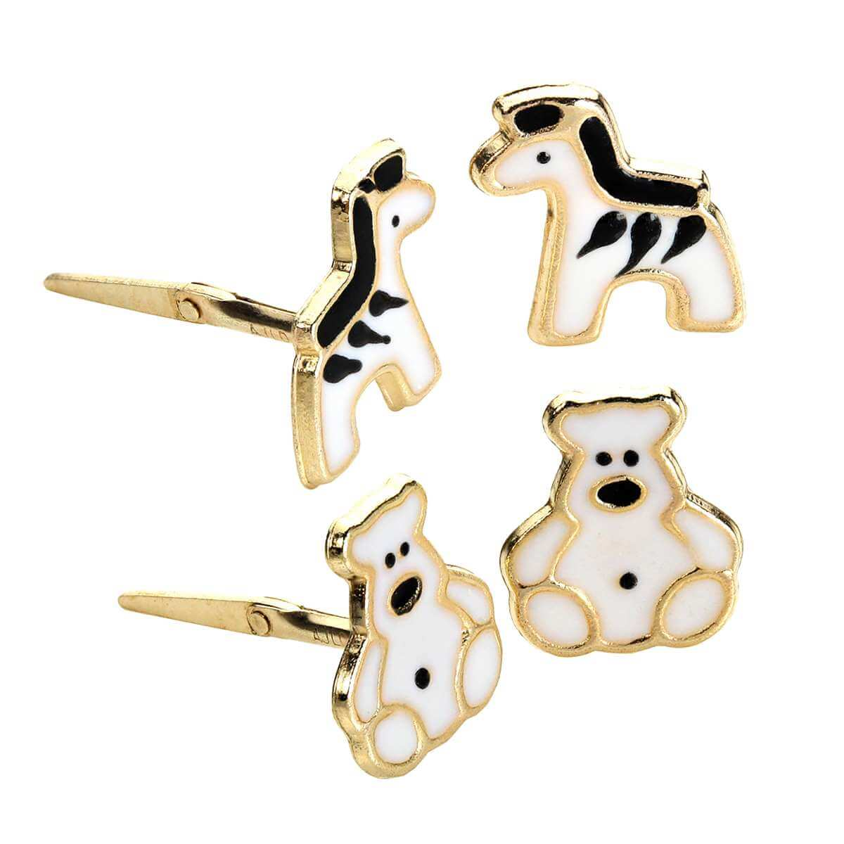 9ct Gold Andralok Kids Zebra & Elephant Stud Earrings Set