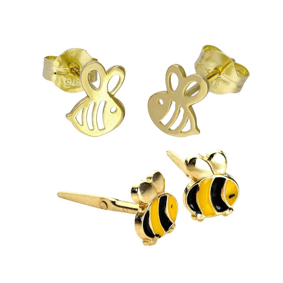 9ct Gold Kids Enamel & Cut Out Bees Stud Earrings Set
