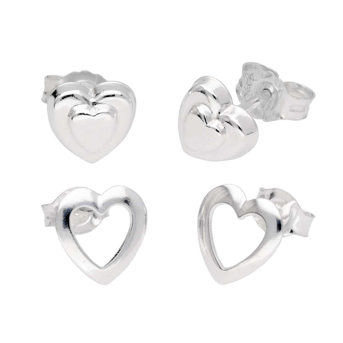 Sterling Silver Kids Hearts Stud Earrings Set