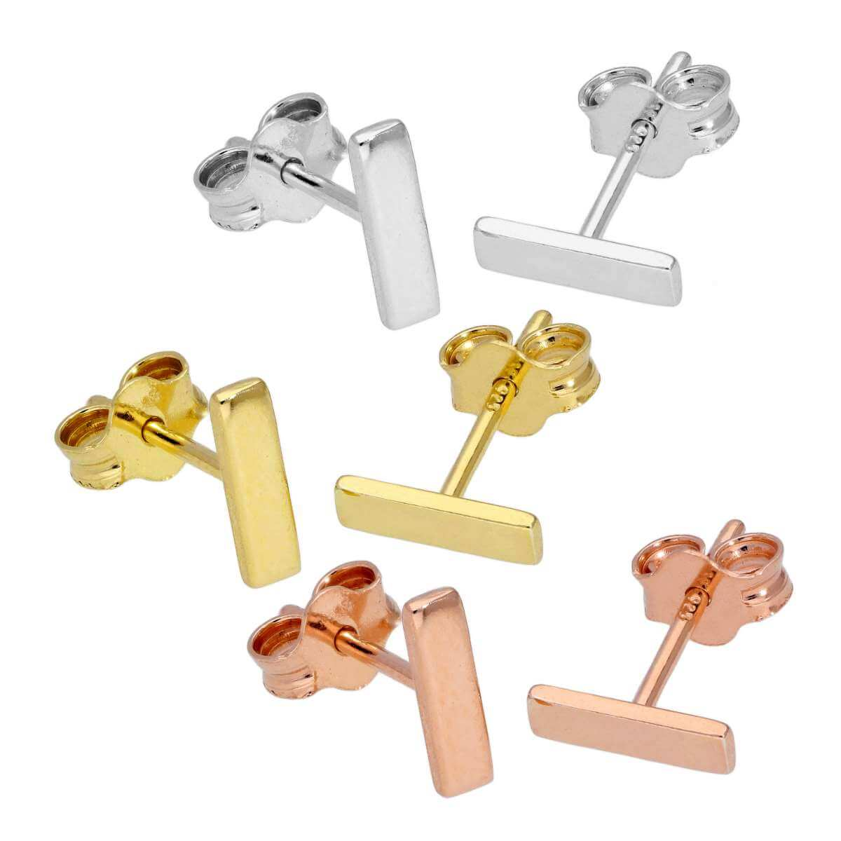 Mixed Gold Plated Sterling Silver Bar Stud Earrings - 3 Pack