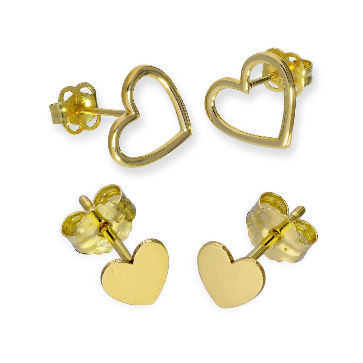 Double 9ct Gold Heart Stud Earrings - 2 Pack