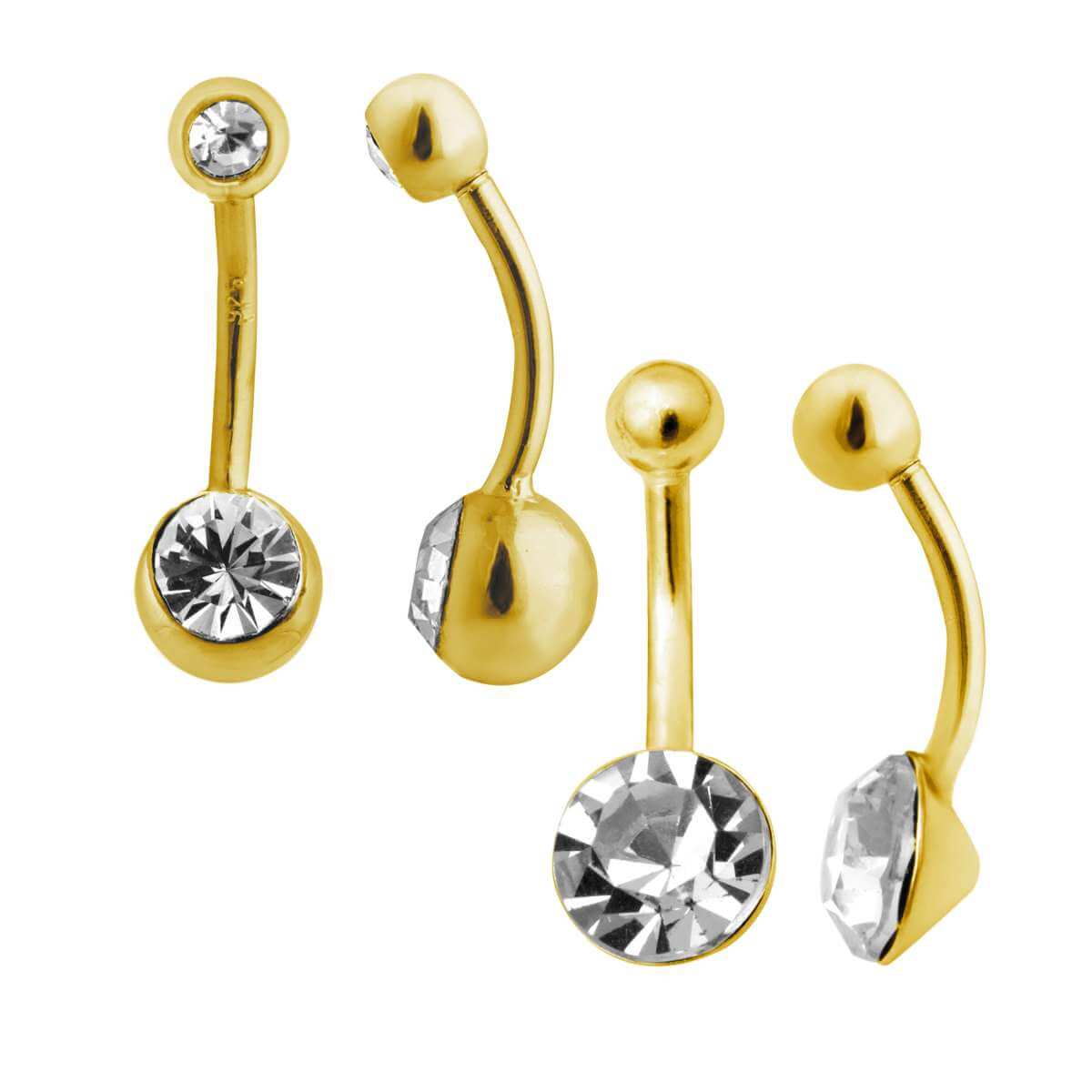 Gold Plated Sterling Silver & CZ Belly Bar Piercing - 2 Pack