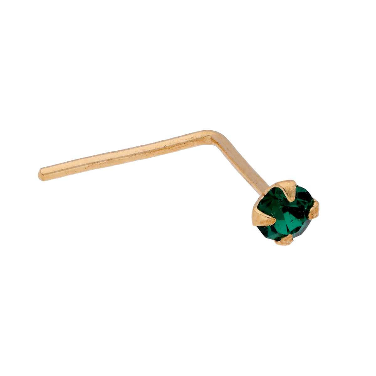 9ct Gold 2mm Emerald Gemstone L-Shaped Nose Stud