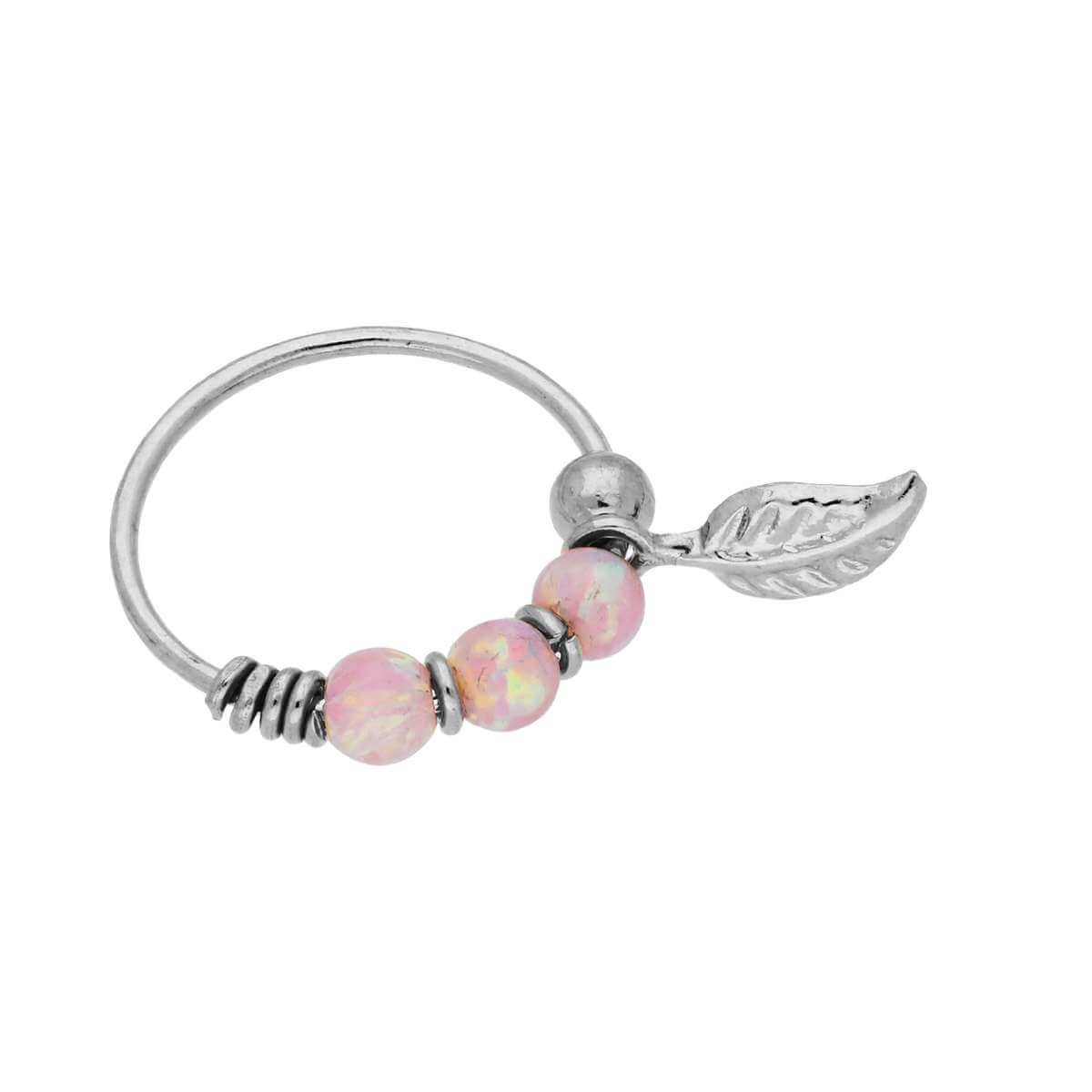 9ct White Gold Pink Opal Stones & Leaf 10mm Nose Ring