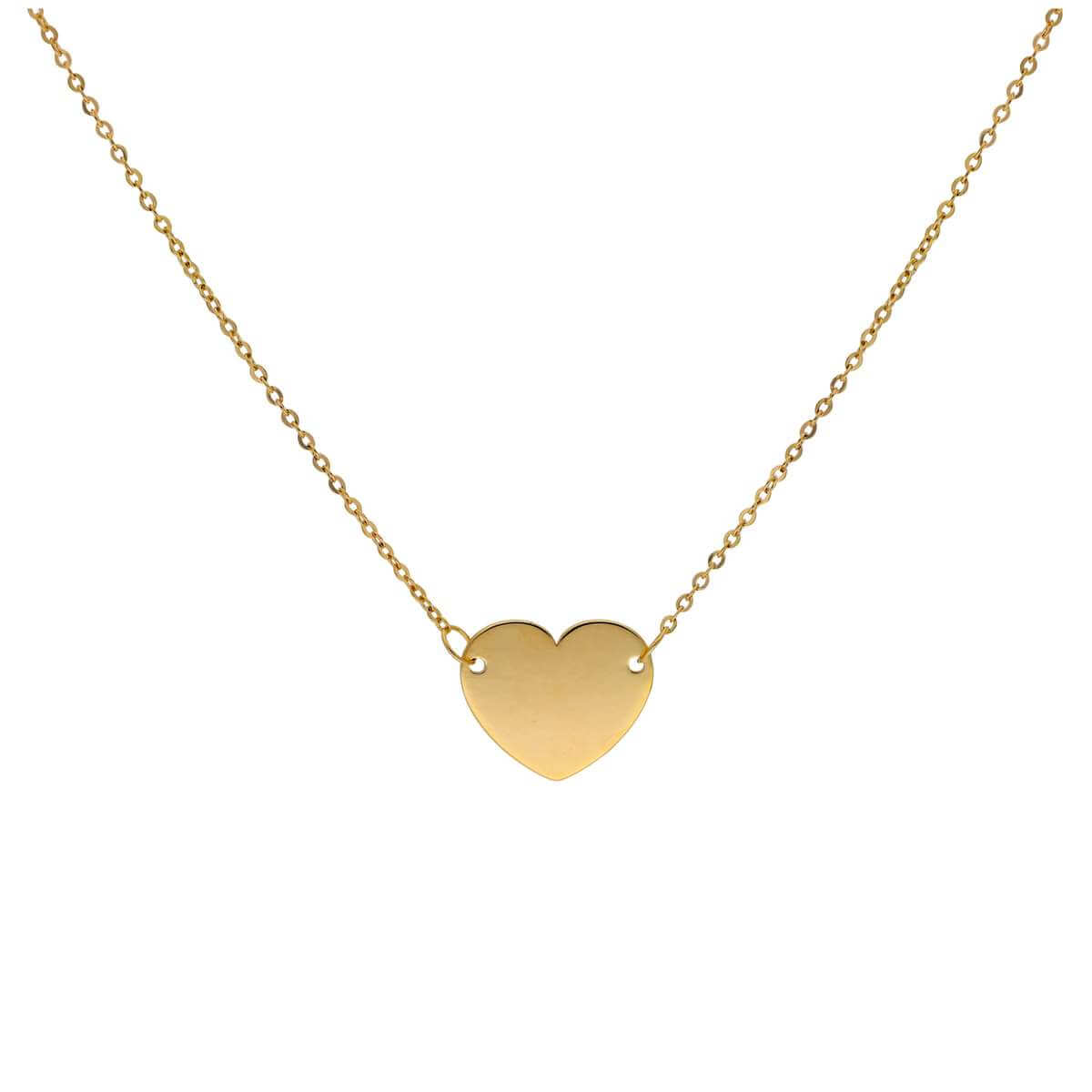 Fine 9ct Gold Plain Engravable Heart Necklace 16 Inches