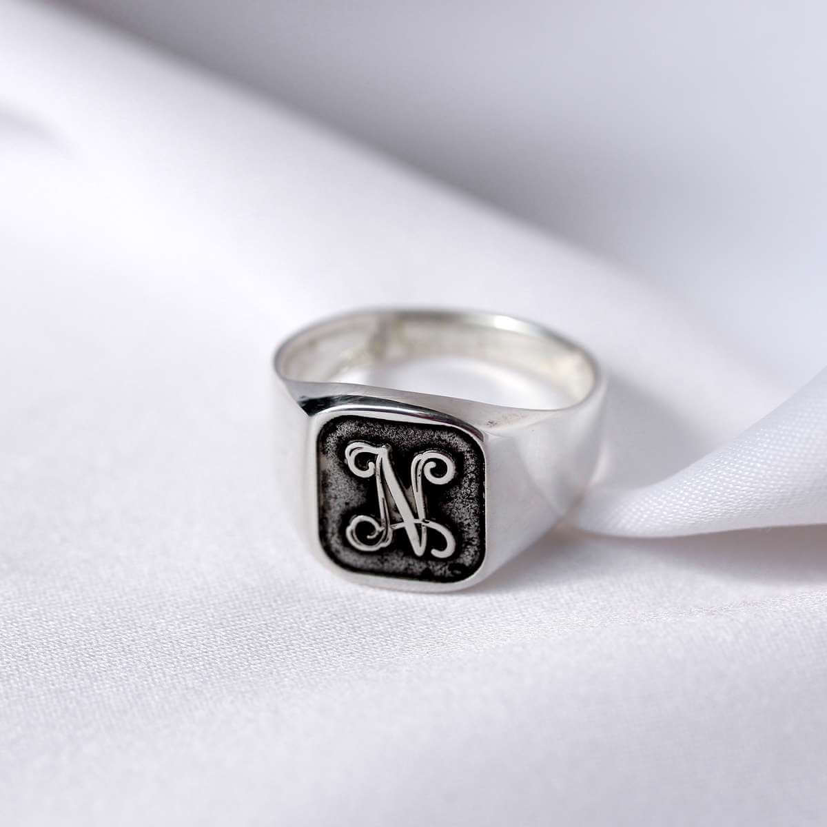 Sterling Silver Monogram Square Signet Ring Size M - Z+1