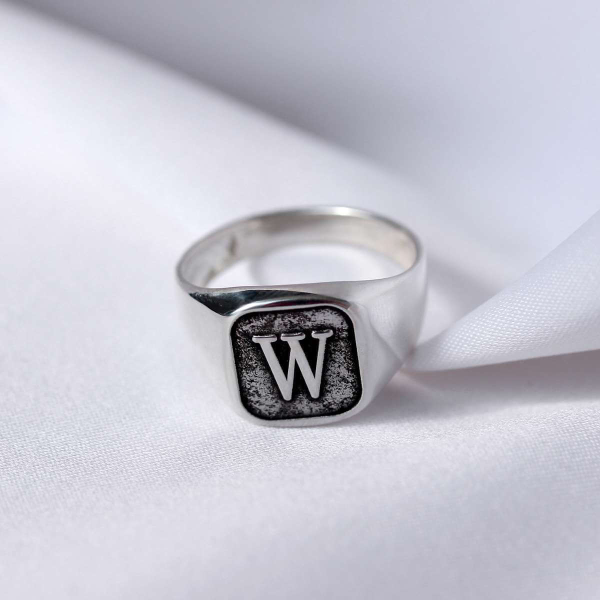 Sterling Silver Monogram Square Signet Ring M - Z+1