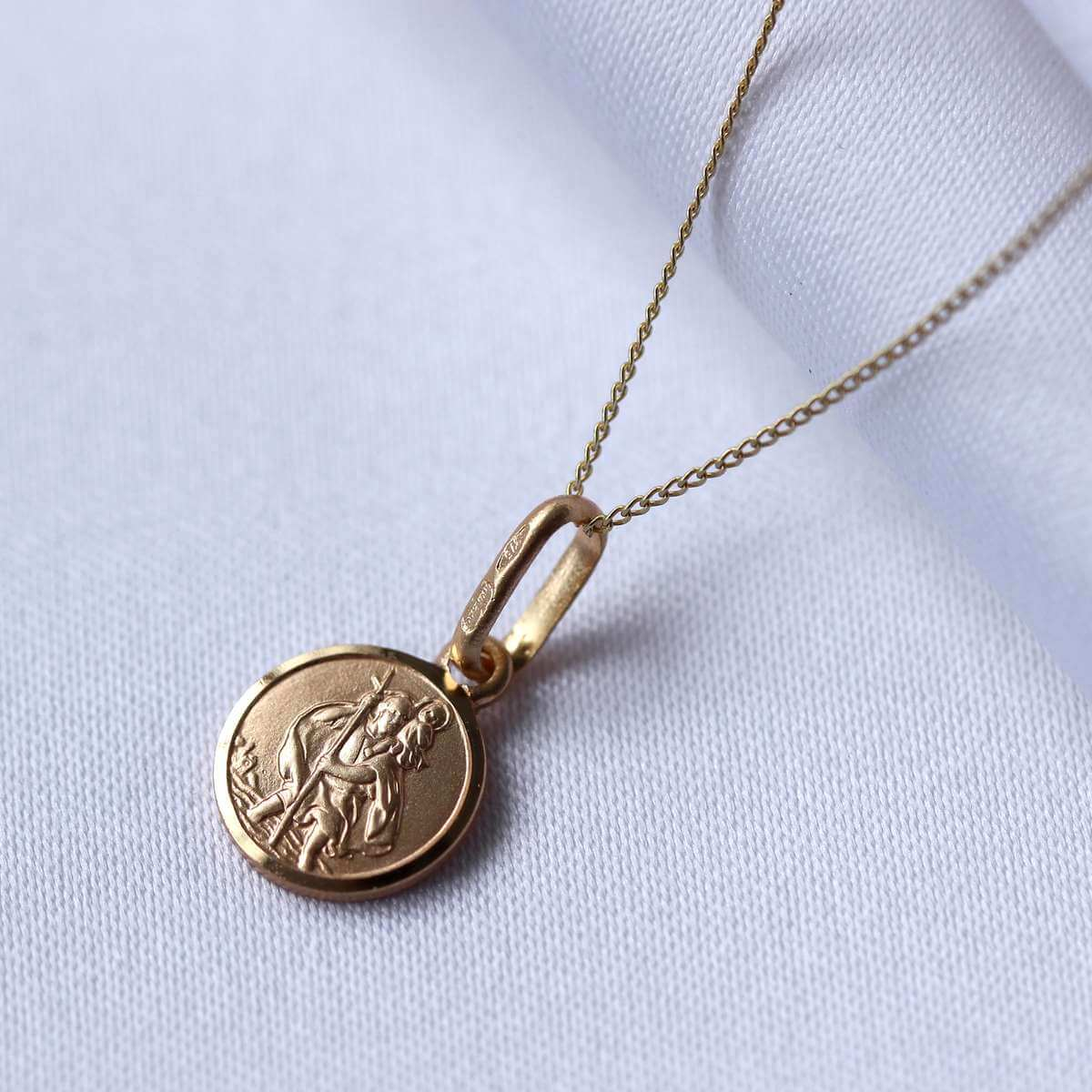 Small Round 9ct Gold St Christopher Necklace 16-22 Inches