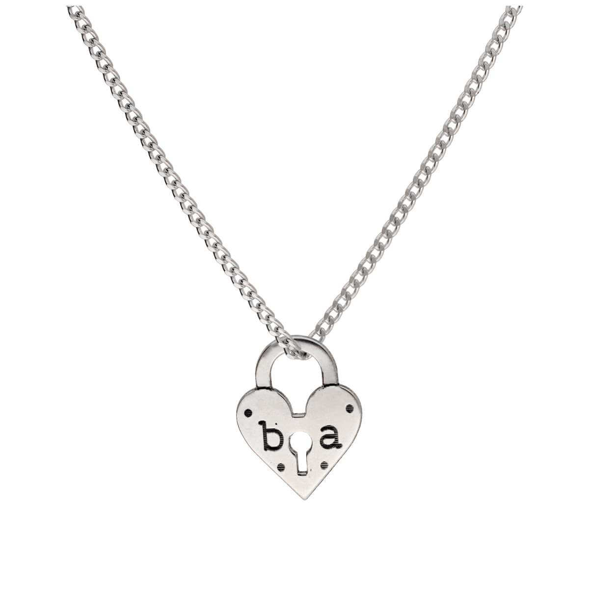 Bespoke Sterling Silver Initials Heart Padlock Necklace 16 - 28 Inches