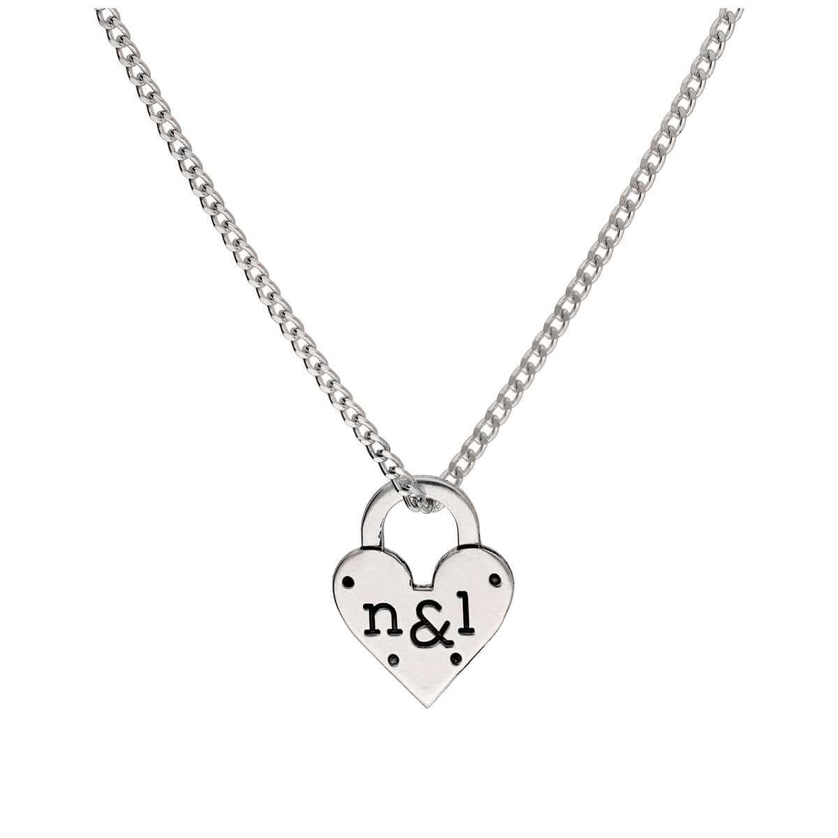 Bespoke Sterling Silver Engraved Heart Padlock Necklace 16-28 Inches